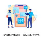 data analysis  strategy. woman... | Shutterstock .eps vector #1378376996