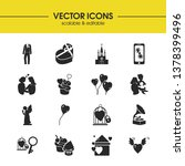 love icons set with little...