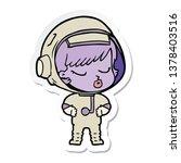 sticker of a cartoon pretty...   Shutterstock . vector #1378403516
