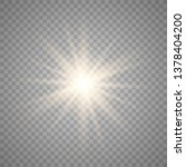 yellow sun with rays and glow... | Shutterstock .eps vector #1378404200