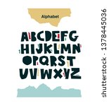 funny alphabet in paper cut... | Shutterstock .eps vector #1378445036