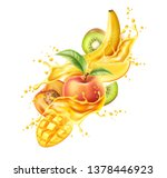 realistic tropical fruits in... | Shutterstock .eps vector #1378446923
