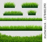 green grass borders big set... | Shutterstock .eps vector #1378481390