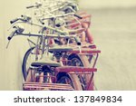red retro bicycle - stock photo