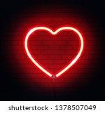 red neon heart. bright night... | Shutterstock .eps vector #1378507049