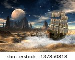 fantasy scene with a ship in a... | Shutterstock . vector #137850818