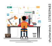 blogger and blogging ... | Shutterstock . vector #1378509683