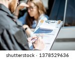 policeman issuing a fine for... | Shutterstock . vector #1378529636