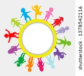 round frame with doodle children | Shutterstock . vector #1378542116