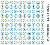 100 Family Icons Set In Flat...