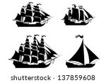 Vector Ships Set With Separate...
