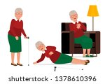elderly woman with a bout of... | Shutterstock .eps vector #1378610396