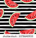 seamless watermelon pattern on...   Shutterstock . vector #1378640933
