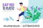 men collect plastic bottles.... | Shutterstock .eps vector #1378642403