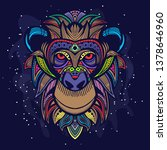 colorfull monkey face art | Shutterstock .eps vector #1378646960