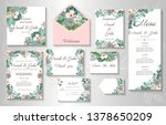 wedding invitation leaves and... | Shutterstock .eps vector #1378650209
