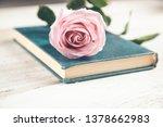 pink roses on blue  book on desk | Shutterstock . vector #1378662983