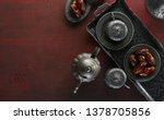top view on silver plate with... | Shutterstock . vector #1378705856