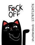middle finger black cat. vector ... | Shutterstock .eps vector #1378713476