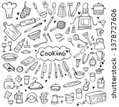 set of doodle kitchen tools on... | Shutterstock .eps vector #1378727606