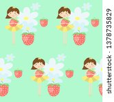 seamless pattern with cute girl ... | Shutterstock .eps vector #1378735829