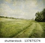 Rural landscape with added texture - stock photo
