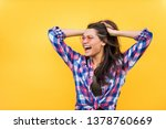 portrait of stylish pretty girl ... | Shutterstock . vector #1378760669