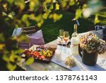 summer outdoor party table with ... | Shutterstock . vector #1378761143