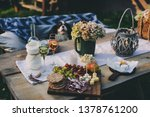 wine  cheese  ham and fruits... | Shutterstock . vector #1378761200