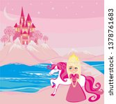 sweet princess and her unicorn... | Shutterstock . vector #1378761683