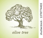 sketch set of olive trees. hand ... | Shutterstock .eps vector #1378774403