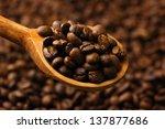 coffee beans in wooden spoon ... | Shutterstock . vector #137877686