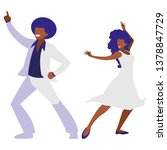 young black couple dancing... | Shutterstock .eps vector #1378847729