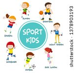 sports kids set concept... | Shutterstock .eps vector #1378903193