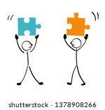 two people puzzle and connection | Shutterstock .eps vector #1378908266