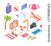 travel objects icon set flat 3d ...   Shutterstock .eps vector #1378988363