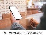 mockup image of hands holding... | Shutterstock . vector #1379006243