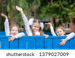 three girl schoolgirl... | Shutterstock . vector #1379027009