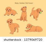 Stock vector various poses of a cute golden retriever puppies hand drawn style vector design illustrations 1379069720