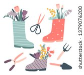 cute rain boots with flowers... | Shutterstock .eps vector #1379076200