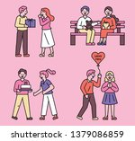 romantic couples giving gifts... | Shutterstock .eps vector #1379086859
