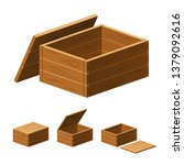 a set of wooden boxes with lids ... | Shutterstock .eps vector #1379092616