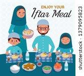 muslim family blessing ramadan... | Shutterstock .eps vector #1379095823