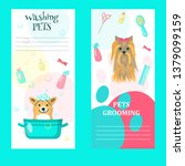 Stock vector vector set of pet grooming cards flyers posters with cute dogs taking bath getting haircut 1379099159