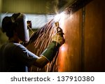 worker with protective mask... | Shutterstock . vector #137910380
