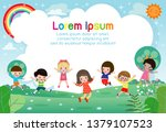 happy children jumping and... | Shutterstock .eps vector #1379107523