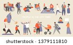 a set of people spending time... | Shutterstock .eps vector #1379111810