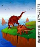 cartoon tyrannosaurus and... | Shutterstock .eps vector #1379133773