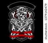 skull wearing a helmet holding...   Shutterstock .eps vector #1379142479