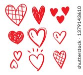 set of doodles hearts. grunge... | Shutterstock .eps vector #1379143610
